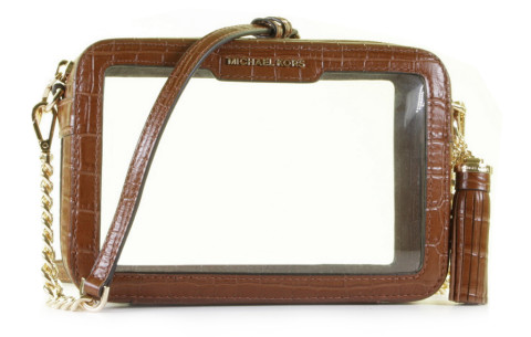 - Michael Kors - Ginny Medium Clear And Leather Chestnut Mel Crossbody Bag Damestassen