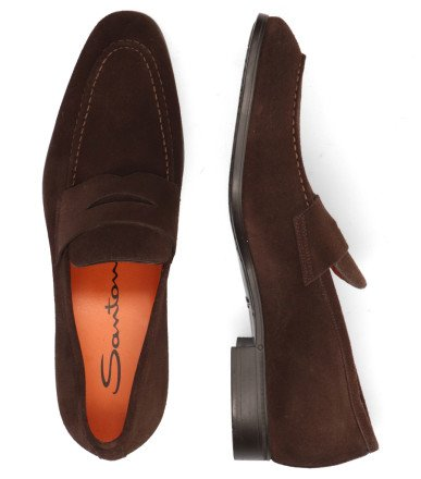 Instappers - Santoni - MGSI14944SMOISYWT50 Dark Brown Herenloafers