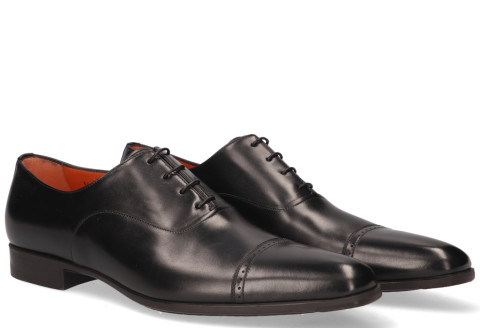 Veterschoenen - Santoni - 14231 Black Heren Veterschoenen