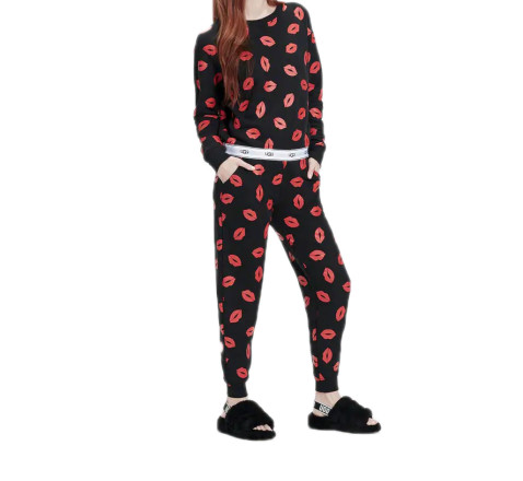 - UGG - Cathy Print Zwart/Rood Dames Sweat Pants