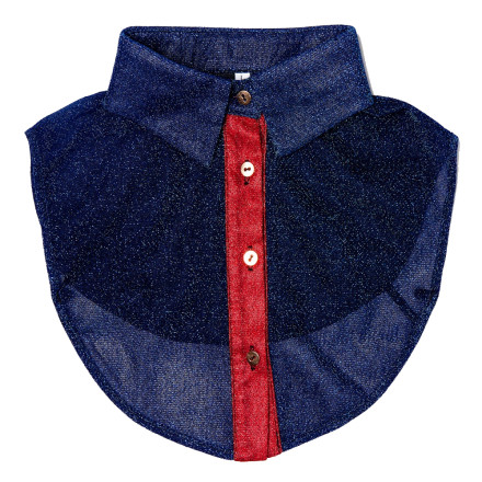 - PiNNED by K - Collar Glitter Blue/Red Kraagjes