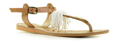 Slippers/Sandalen - Laidback London - Flint Flat Light Brown/Silver Sandalen