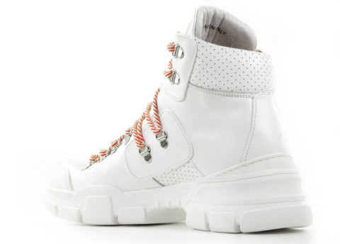Enkellaarsjes - Forty5 - Cortina White Dames Veterboots