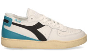 Diadora Heritage - Mi Basket Row Cut Used Wit Grijs Herensneakers - Heren - Wit Blauw
