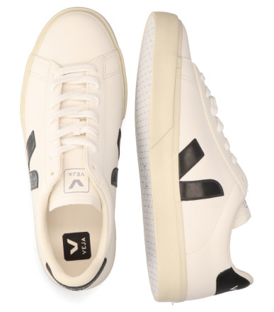 Sneakers - VEJA - Campo Chromefree Leather Wit/Zwart Herensneakers