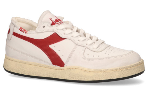 Sneakers - Diadora Heritage - Mi Basket Row Cut Used Wit/Rood Herensneakers