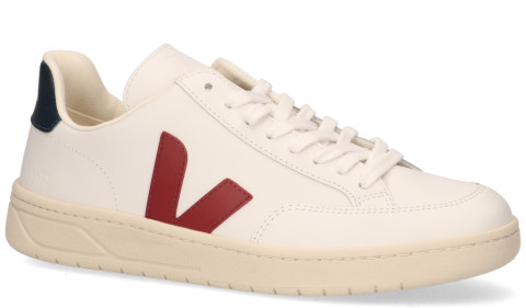 Sneakers - VEJA - V-12 Leather Wit/Rood/Blauw Herensneakers