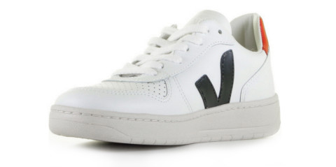 Sneakers - VEJA - V-10 Leather Wit/Donkerblauw/Rood Herensneakers