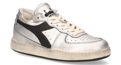 Sneakers - Diadora Heritage - Mi Basket Row Cut Used Zilver/Zwart Damessneakers