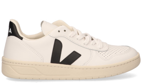 Sneakers - VEJA - V-10 Leather Wit/Zwart Damessneakers
