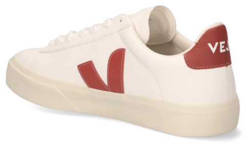 Sneakers - VEJA - Campo Chromefree Leather Wit/Rood Damessneakers