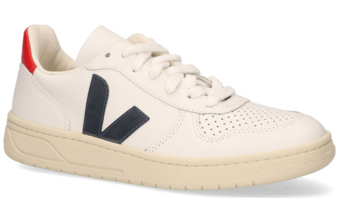 Sneakers - VEJA - V-10 Leather Wit/Blauw/Rood Damessneakers