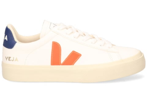 Sneakers - VEJA - Campo Chromefree Leather Wit/Oranje/Blauw Damessneakers
