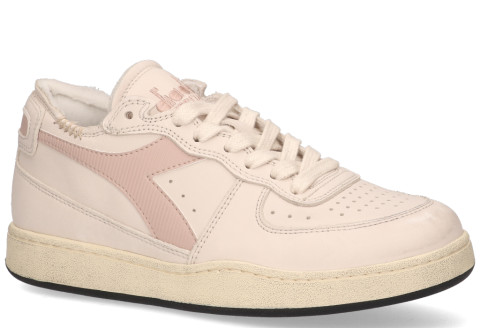 Sneakers - Diadora Heritage - Mi Basket Row Cut Used Wit/Lichtroze Damessneakers