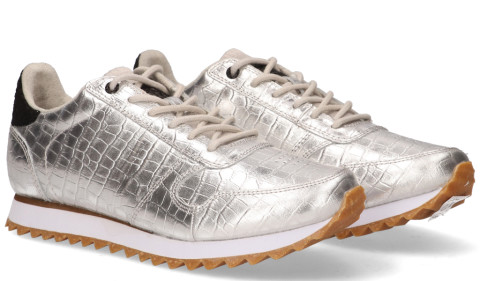Sneakers - Woden - Ydun Croco Shiny Zilver Damessneakers