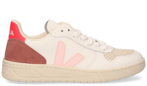 Sneakers - VEJA - V-10 Leather Wit/Roze Damessneakers