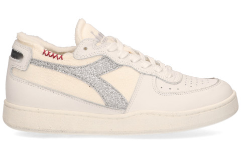 Sneakers - Diadora Heritage - Mi Basket Row Cut Canvas Silver Wit Damessneakers