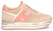 Hogan - Midi H222 Roze Damessneakers - Dames - Beige Divers