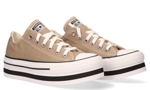 Sneakers - Converse - Everyday Platform Chuck Taylor All Star Low Top Khaki/White/Black Damessneakers