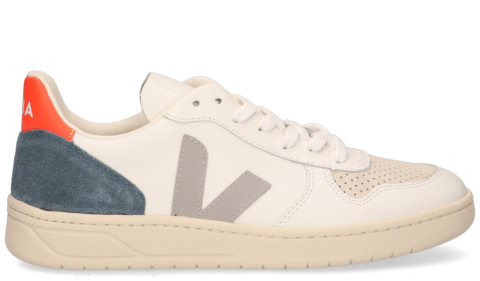 Sneakers - VEJA - V-10 Leather Wit/Grijs/Oranje Herensneakers