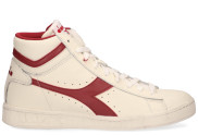 Diadora Sport - Game L High Waxed Wit Rood Damessneakers - Dames - Wit Rood