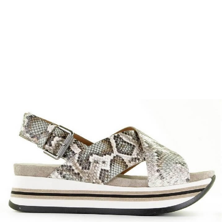 Via Vai tourist sandals met snake print