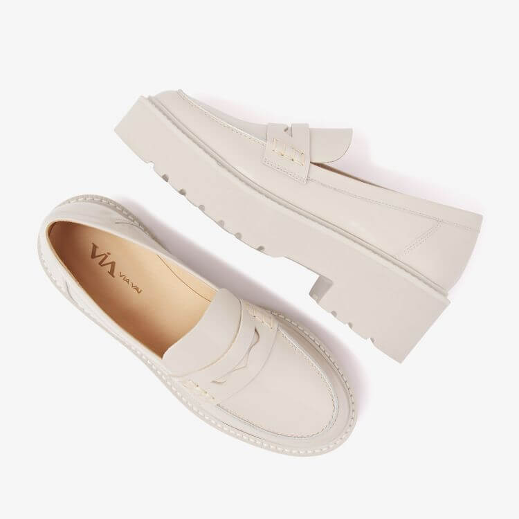 VIA VAI Bell Lois chunky loafer wit