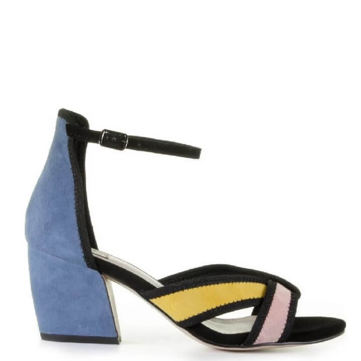 Bibi Lou Denim Blue sandalen met color blocking