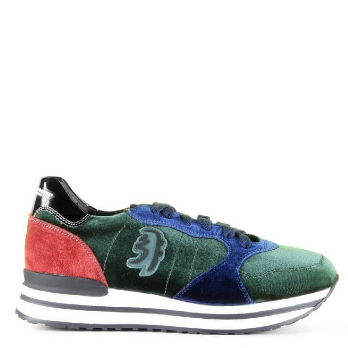 Alexander Hotto Betty dames sneakers met groen fluweel