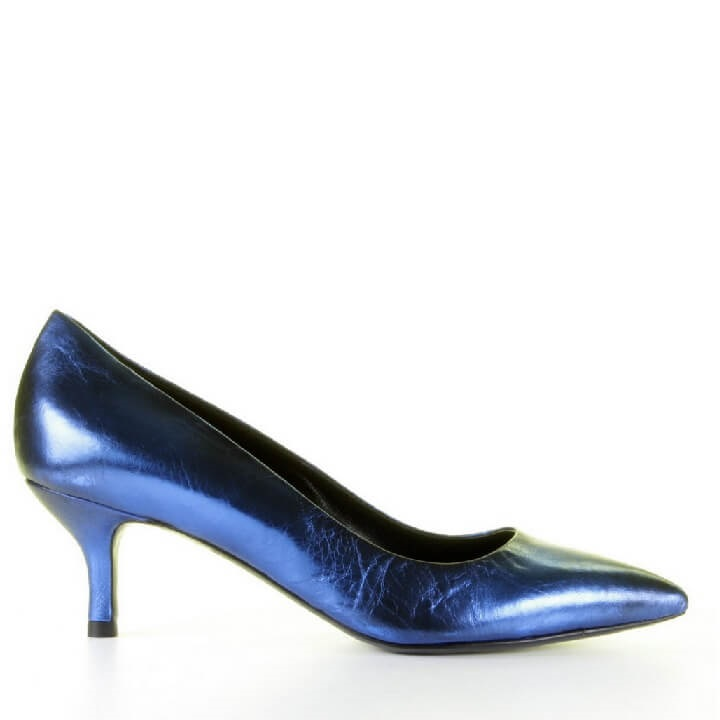 Metallic blauwe pumps met queenie hakje Strategia
