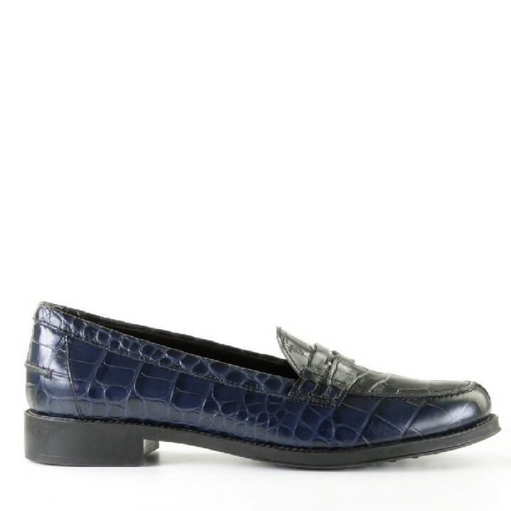 Tods donkerblauwe dames loafer met crocoprint