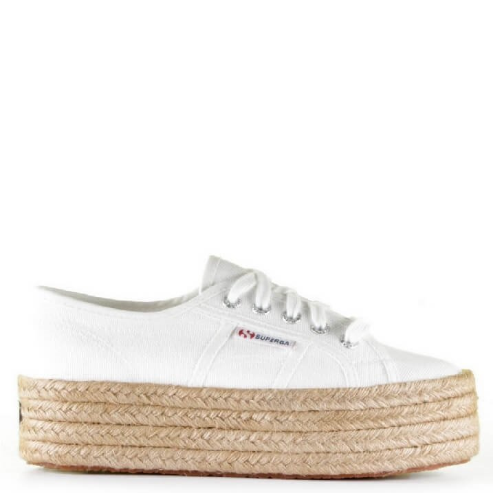 Superga Cotropew witte plateau sneakers met espadrille touwzool