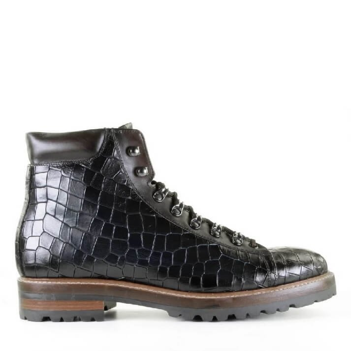 Giorgio 1958 zwarte heren hiking boots met crocoprint