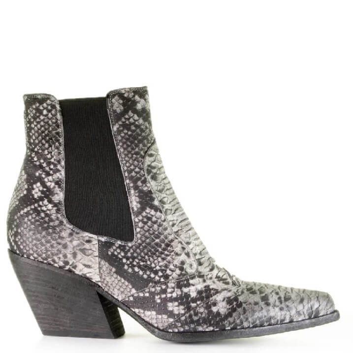 Strategia cowboy inspired boots met grijs/witte snake print