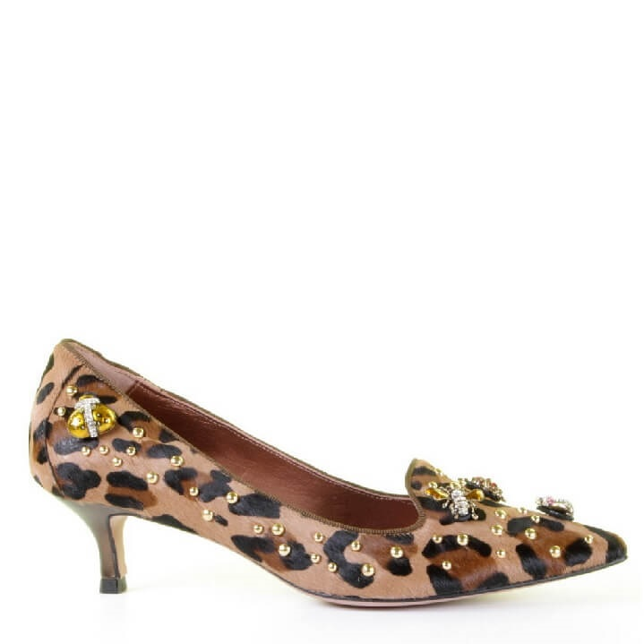 RAS panterprint pumps met kitten heel