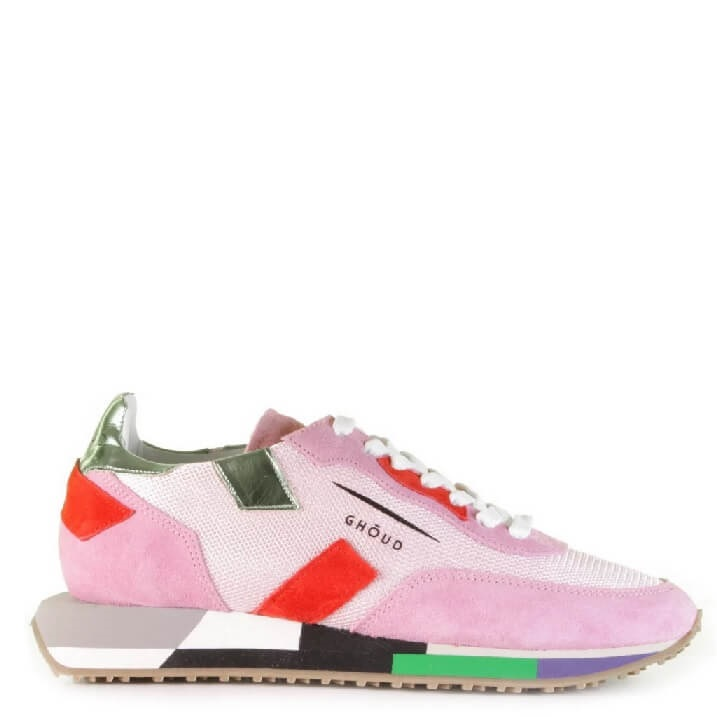 GHOUD Rush roze rood groene color block damessneakers