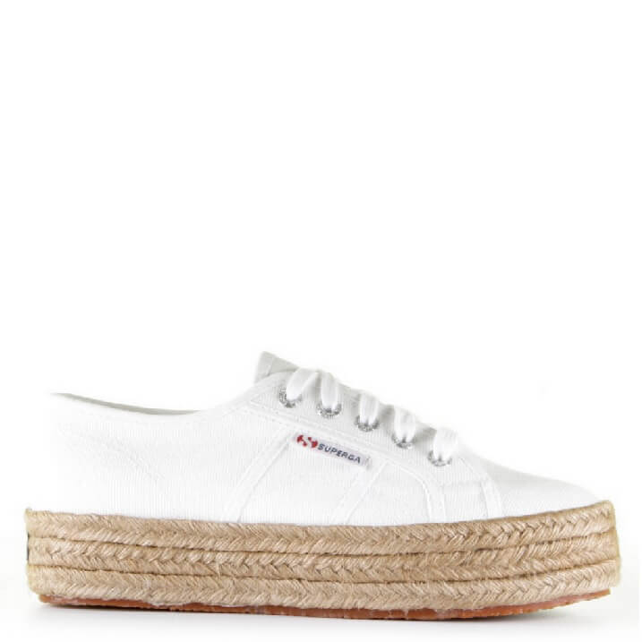 Witte canvas sneakers met espadrille touwzool Superga Cotropew