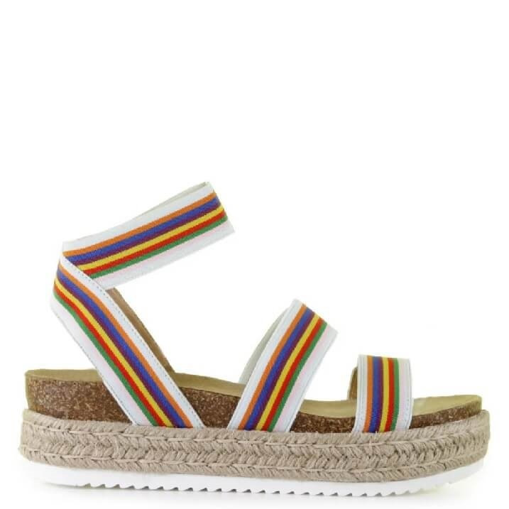 Steve Madden Kimmie Rainbow strappy sandals met espadrille touwzool