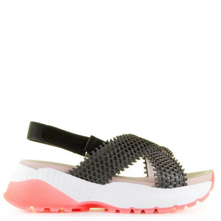 Marc Cain sporty sandalen met roze sneakerzool